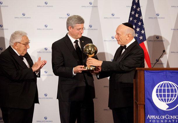 هارپر در نیویورک: دریافت جایزه آری، حضور در سازمان ملل خیر