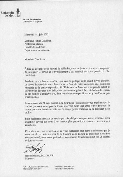 نامه تشکر دکتر هلن بواژولی رئیس دانشکده پزشکی دانشگاه مونتریال