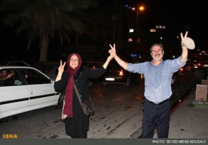 شادی مردم پس از انتخابات در ایران