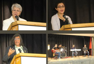 خاطره شیبانی، لیلی نبوی، مصطفی عزیزی از سخنرانان مراسم بودند و گروه نیمه ها نیز هنرنمایی کرد