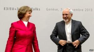 جواد ظریف وزیر امور خارجه جمهوری اسلامی ایران و کاترین اشتون از سوی اتحادیه اروپا در مذاکرات حضور داشتند