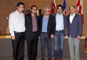 اعضای هیئت مدیره جشنواره تیرگان از راست: مهرداد آرین نژاد، بهروز آموزگار، بابک پیامی، نیما احمدی و آرین شجاعی