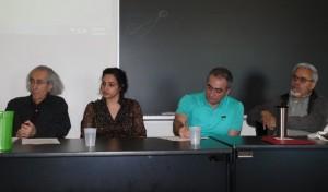 سخنرانان پنل ایران: از راست دکتر سعید رهنما، دکتر مهرداد وهابی، روجا قهاری، دکتر امیر حسن پور
