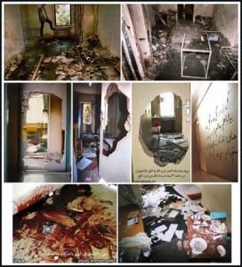 خوابگاه دانشجویان دانشگاه تهران پس از حمله انصار حزب الله