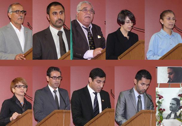 بالا از راست: رویا عراقی، ساره سکوت، امیر مهیم، آرنوش ازرحیمی، حمید قهرمانی  پایین: سلمان سیما، سیاوش بهمن، اردشیر زارع زاده، ستاره