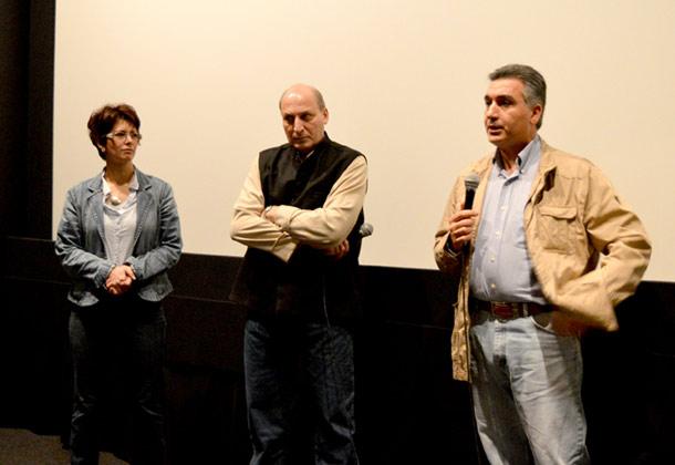 از راست حمید قاسمی شال، رامین جهانبگلو و لیلی پورزند در پنل پایان فیلم اعترافات اجباری