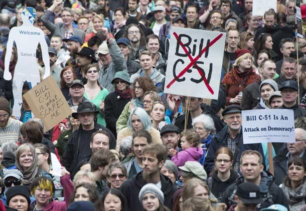 تظاهرات بزرگ همزمان در سراسر کانادا علیه لایحه «ضد تروریسم»