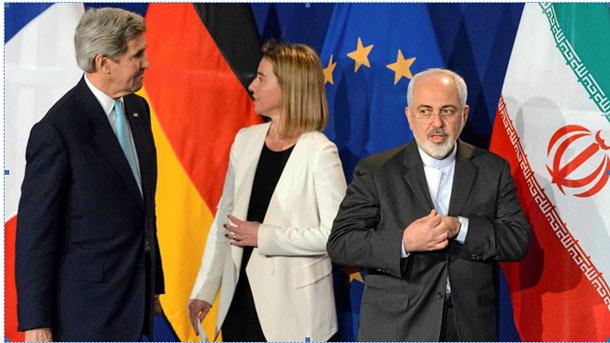 محمدجواد ظریف در کنار فدریکا موگرینی از اتحادیه اروپا و جان کری وزیر امور خارجه آمریکا