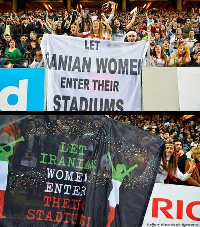 """کارزار """"رفع ممنوعیت ورود زنان به ورزشگاه ها در ایران"""" در مسابقه فوتبال ایران و سوئد"""