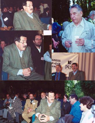 چنگیز آیتماتف (بالا راست) و گونتر گراس در کنگره انجمن جهانی قلم در سال 2000 در مسکو