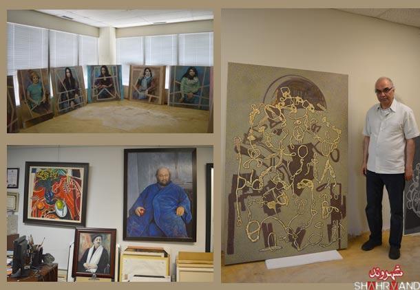 محمود معراجی در آتلیه نقاشی اش با تابلوهای جدیدش