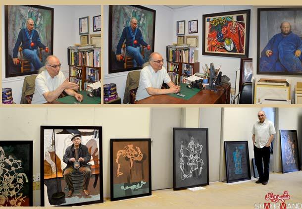 محمود معراجی در آتلیه نقاشی اش در گفت وگو با شهروند