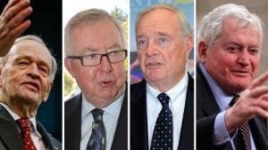 از راست: جان ترنر، پل مارتین، جو کلارک و ژان کریتین نخست وزیران سابق کانادا
