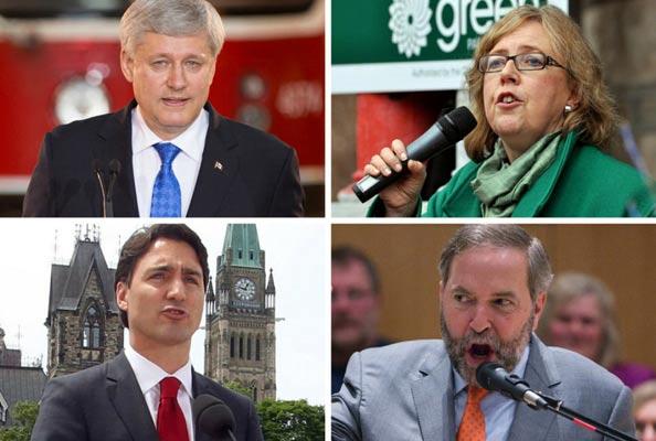 الیزابت می (بالا راست) رهبر حزب سبزـ استفان هارپر رهبر محافظه کاران  توماس مولکر (پایین راست) رهبر ان دی پی ، جاستین ترودو رهبر لیبرال ها