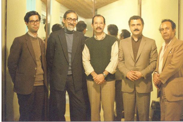 سال 1365 از راست: مسعود میناوی، فرامرز سلیمانی، محمد مختاری، احمد محیط و علی دهباشی