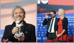 محمد بن عطیه (راست) جایزهی ۵۰ هزار یورویی بهترین فیلم اول را برای کارگردانی «هدی» دریافت کرد لاو دیاز کارگردان فیلم هشت ساعتهی لالایی برای راز غمانگیز