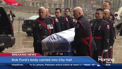 وداع مردم با راب فورد، شهردار پیشین تورنتو