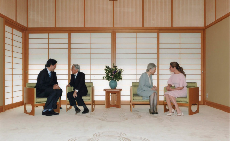 دیدار جاستین ترودو و همسرش با امپراتور و همسرش در ژاپن
