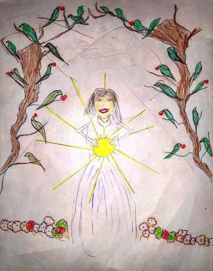 نقاشی کودک بهایی که مادرش زندانی است