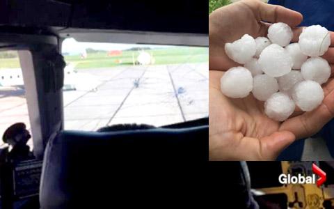 فرود اضطراری ایر کانادا به دلیل برخورد تگرگ با شیشه جلوی هواپیما