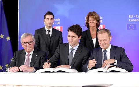امضای قرارداد تجاری بین کانادا و اتحادیه اروپا