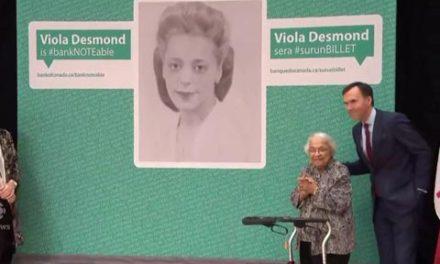 چهره ی ویولا دزموند، اولین زن سیاه پوست، بر روی۱۰ دلاری کانادایی