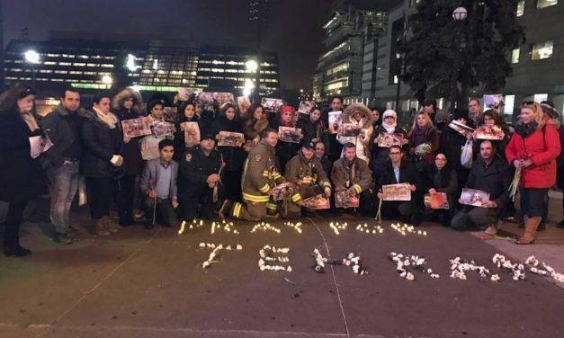 ابراز همدردی با خانواده های قربانیان حادثه پلاسکو با حضور آتش نشانان تورنتو