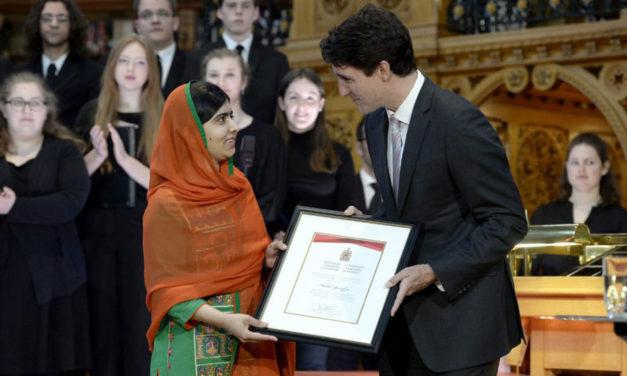 اهدای شهروندی افتخاری کانادا به ملاله یوسف زای، برنده ی نوبل صلح