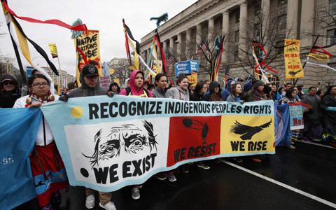 اتحاد بومیان آمریکا و کانادا برای جلوگیری از خط لوله کی استون