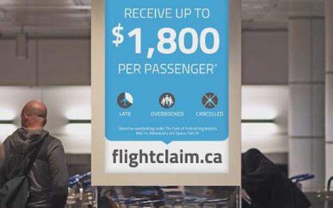 جلوگیری از نصب تبلیغات شرکت Flight Claim در مونترال و تورنتو