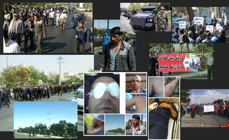 حمله پلیس ضد شورش با گاز اشکآور به کارگران معترض در  اراک
