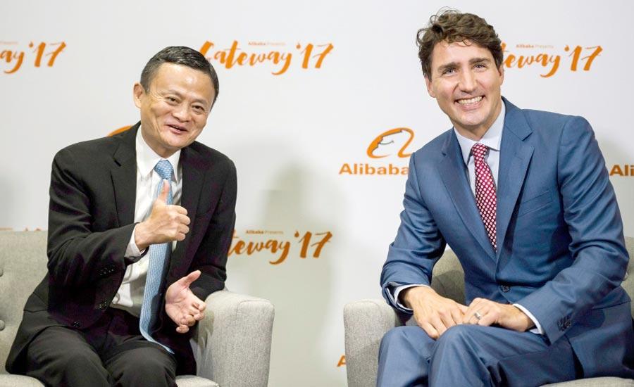 """جاستین ترودو در کنار """"جک ما"""" رئیس کمپانی غول چینی """"علی بابا"""" در تورنتو"""