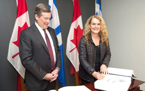 اولین دیدار رسمی فرماندار کل کانادا از تورنتو