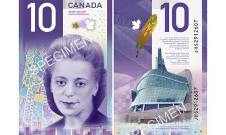 چهره ی ویولا دزموند بر روی ۱۰ دلاری در کانادا