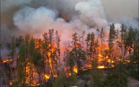 آتش سوزی گسترده در شمال انتاریو، شهر در حالت آماده باش